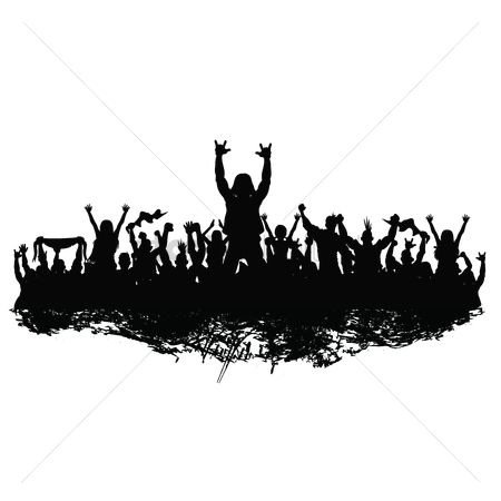 Cheering : Silhouette of cheering crowd
