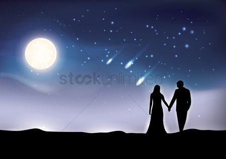 Moon : Silhouette of couple over night sky