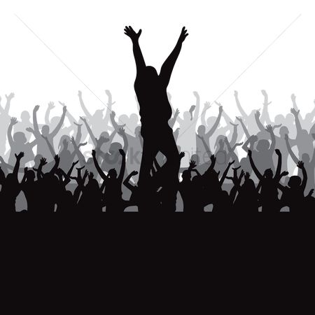 Cheering : Silhouette of crowd