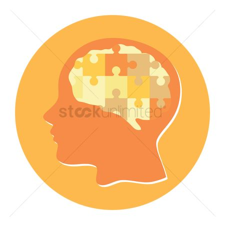 Jigsaw : Silhouette of human with mind puzzle