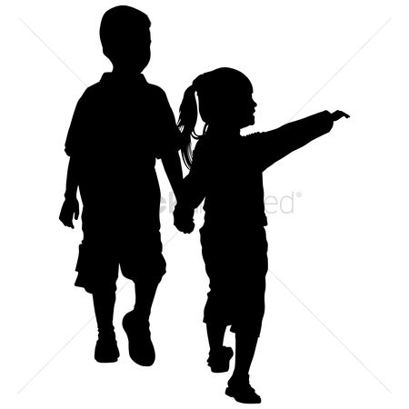 Kids : Silhouette of kids holding hands