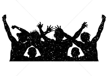 Dancing : Silhouette of people cheering