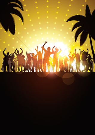 Dancing : Silhouette of people having a party