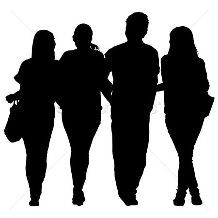 Posing : Silhouette of people with shopping bags