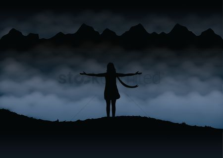 Freedom : Silhouette of woman with open arms