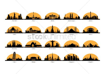 Towers : Silhouettes of countries
