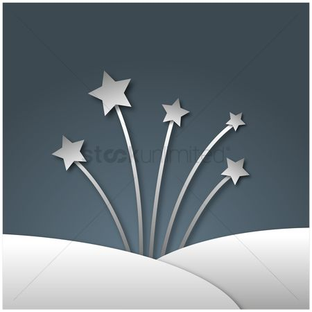 Silver : Silver shooting stars on grey background