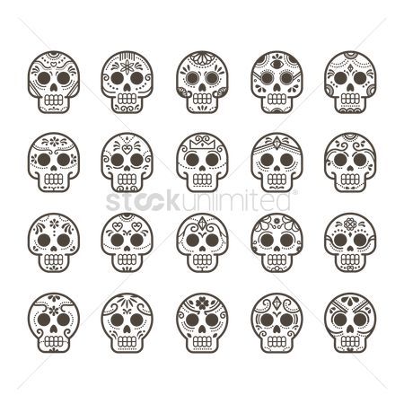 Linear : Skull icon set