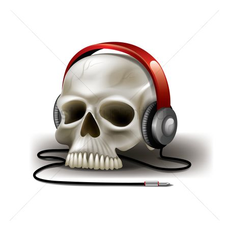 Microphones : Skull wearing headset