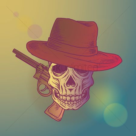 Hat : Skull with hat and gun