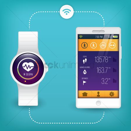 App : Smart phone and watch health concept
