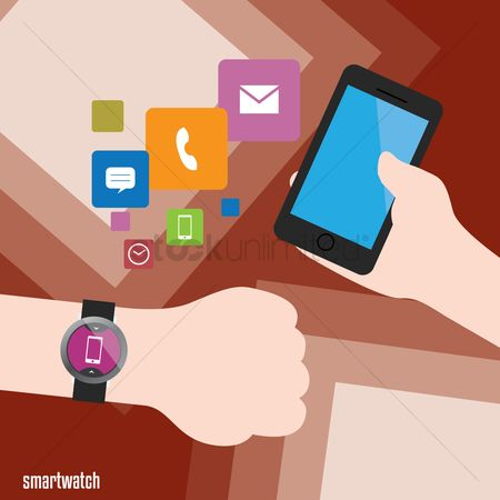 Wristwatch : Smart watch with smart phone and applications icon