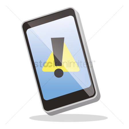Errors : Smartphone with a warning sign