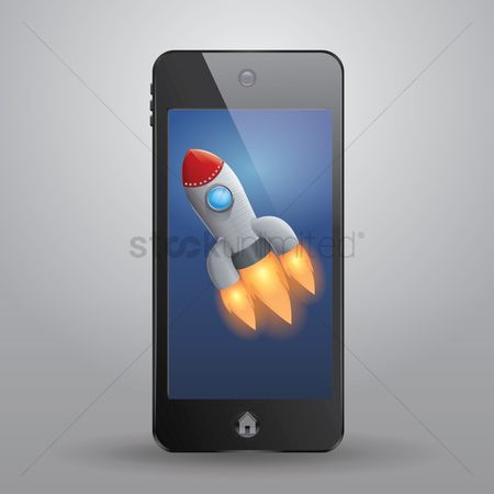 Spaceships : Smartphone with rocket
