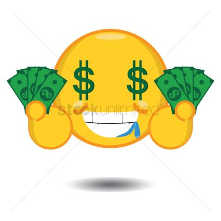 Wealth : Smiley with dollar sign eyes holding money