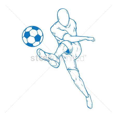 Sports : Soccer player kicking the ball