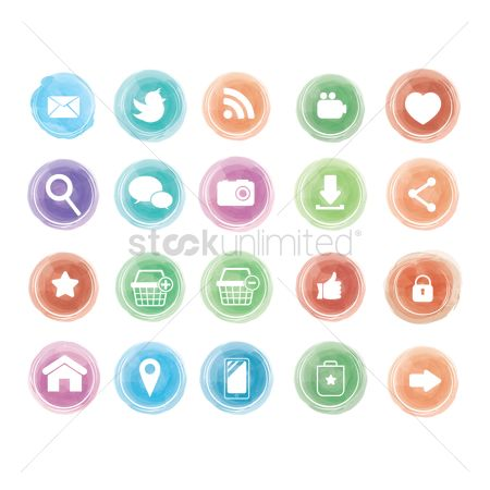 Online shopping : Social media icons set