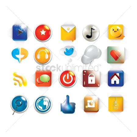 Power button : Social media icons set