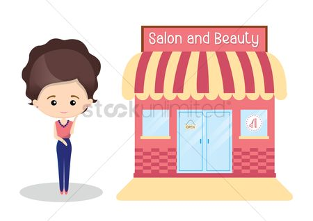 Customers : Spa and beauty salon with woman outside