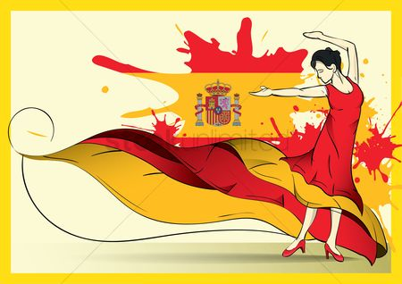 Tricolored : Spain flag with flamenco dancer