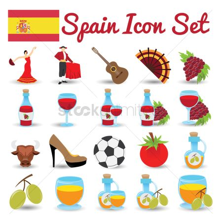 Red wines : Spain icon set