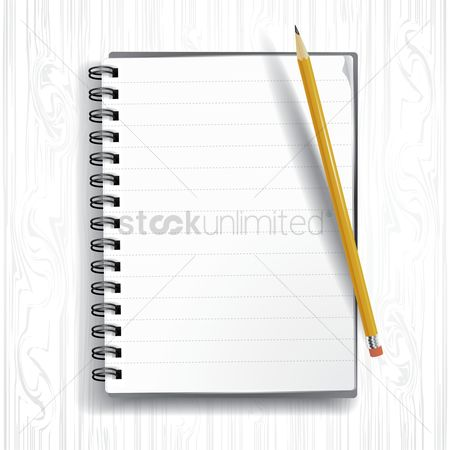 Open : Spiral notebook with pencil