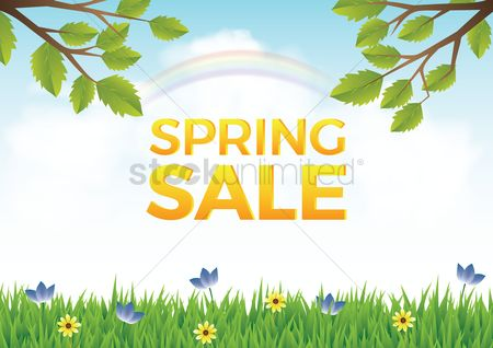 Vectors : Spring sale design