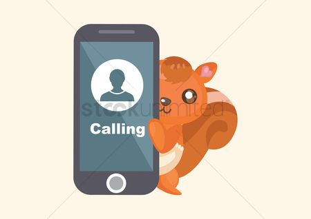 Calling : Squirrel with smartphone