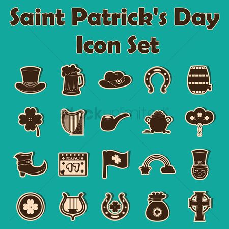 17 : St patrick s day icon set