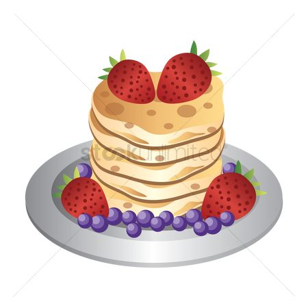 Hotcake : Stack of pancakes and berries