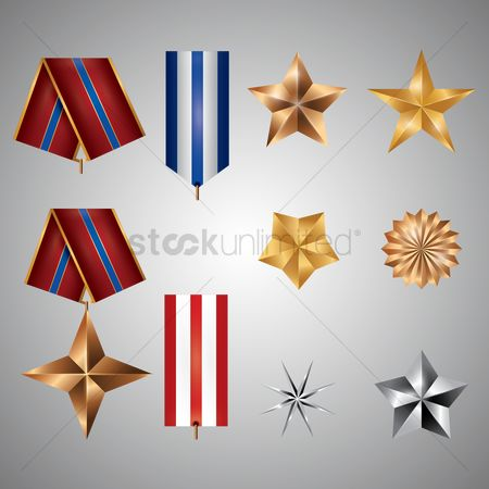 Silver : Star design with medal ribbon collection