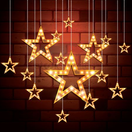 Brick : Stars hanging on bricks wall background