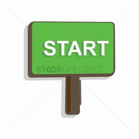 Wooden sign : Start signboard