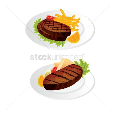 French fries : Steak meat on a plate