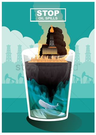 Pollutions : Stop oil spills concept