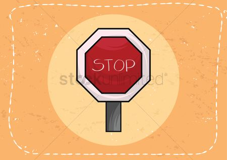 Wooden sign : Stop signboard