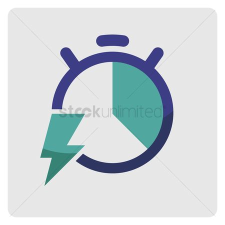 Minute : Stopwatch with lightning symbol