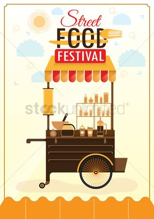 Food cart : Street food festival poster design