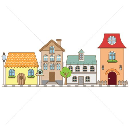 Chimneys : Street with houses