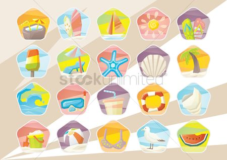 Sail : Summer beach vacation icons