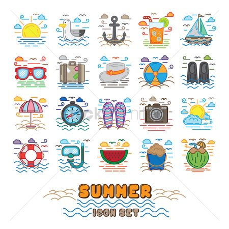 Seashore : Summer icon set