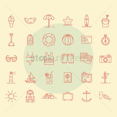 Tents : Summer icon set
