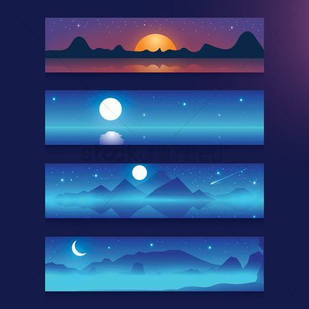 Mountains : Sunset and moonlight banner set
