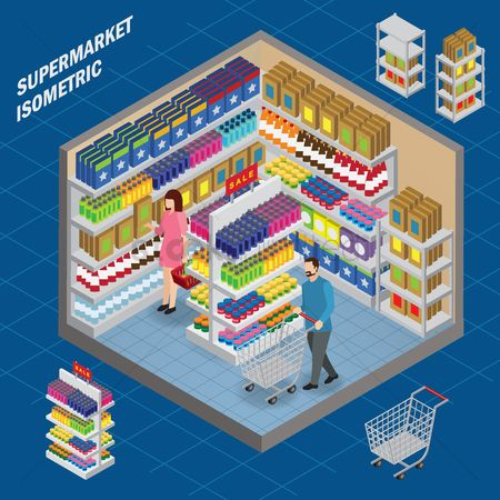 Trolley : Supermarket isometric