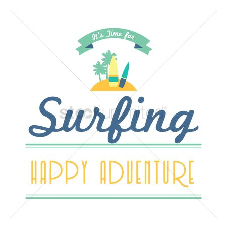 Happy summer : Surfing text and label
