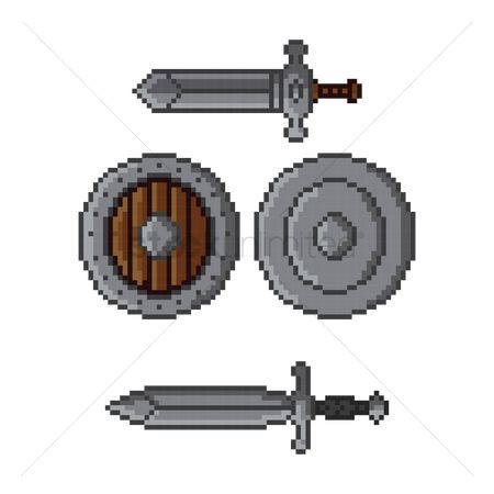 Wooden sign : Swords and shield pack