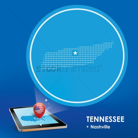 Tennessee : Tablet pc with tennessee map projection