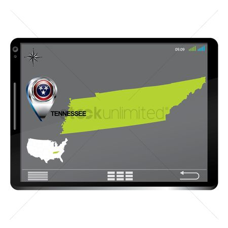 Tennessee : Tablet pc with tennessee map
