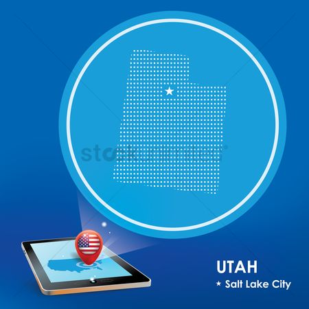 Utah map : Tablet pc with utah map projection