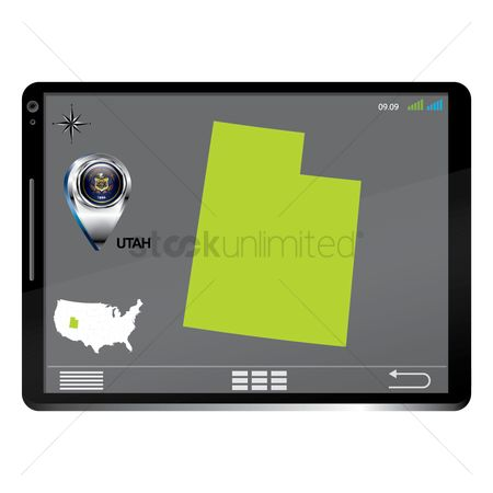 Utah map : Tablet pc with utah map